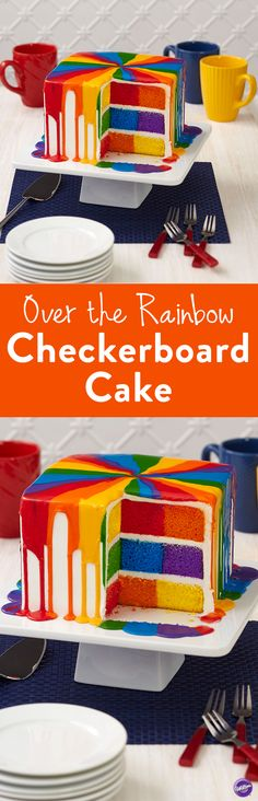 Over the Rainbow Checkerboard Cake - Surprise your guests with a cake that is bright and bursting with rainbow colors, on both the inside and out. It's easy to create this checkerboard cake using the Wilton Checkerboard Square Cake Pan Set, the Color Right Performance Color System and two cake mixes!