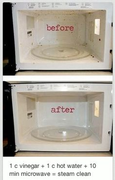 Cleaning the microwave is not an easy task of daily chores. This tip cleans your microwave great! 1 cup vinegar + 1 cup hot water + 10 minutes in microwave = steam clean! No more scum, no funky smells. Diy Cleaning Products, Cleaning Solutions, Cleaning Hacks, Cleaning Supplies, Cleaning Recipes, Fee Du Logis, Limpieza Natural, Steam Cleaning, Oven Cleaning