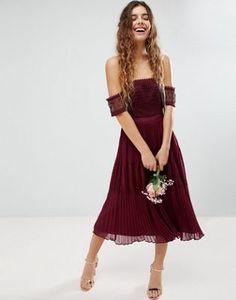 ASOS Bridesmaid Premium Guipure Lace Paneled Midi Dress