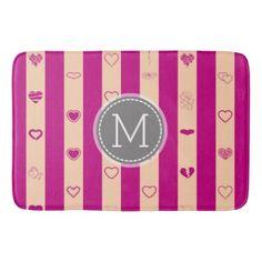 #monogrammed - #Monogram Royal Fuchsia Stripe Modern Heart Pattern Bathroom Mat