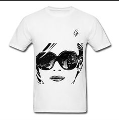 """Claudio Designwear """"Shades"""" Tee - (White/Black)(Front) http://claudio.spreadshirt.com/men-s-standard-weight-t-shirt-A13754747/customize/color/1"""
