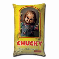 Childs Play Chucky Box He Wants You For a Best Friend 19-Inch Plush Pillow