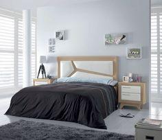 Bonito y elegante mobiliario para dormitorio de matrimonio en color oak nogal y blanco. Descubre todas las composiciones en: http://www.martbert.com