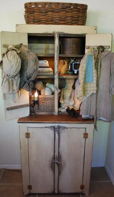 Primitive Country Stepback Cupboard by redroosterbab on Etsy, $700.00