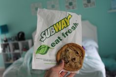 My brother used to work at subway and he would bring me a cookie sometimes after work♡♡