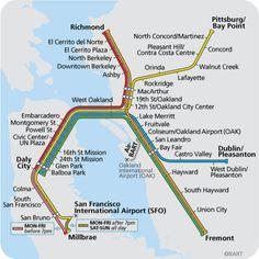 El metro de San Francisco es conocido como BART (Bay Area Rapid Transit, en español: Distrito de Transporte Rápido del Área de la Bahía). Conecta las ciudades de la bahía este y el condado de san Mateo, entre las que se incluyen San Francisco, Oakland, Berkeley, Daly City, Concord, Fremont, Hayward, Walnut Creek y Richmond . Es el quinto sistema de transporte más usado en los Estados Unidos. #sanfrancisco #metro #bart