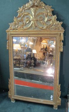 Large mirror #LouisXVI #style in #painted and #gilt wood. Provincial work. Early 19th century. For sale on Proantic by Blandine Lefèvre.
