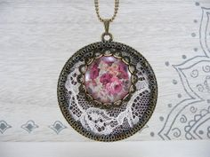 Off white lace and brown fabric pendant with floral print glass cabochon - Antique bronze tone chain and beads (C077)