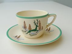 Crown Devon Stockholm Greenland Green Reindeer Small Cup & Saucer