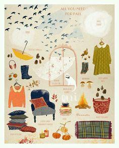 All you need for fall art print / illustration / by matejakovac Illustration Inspiration, Art Et Illustration, Autumn Art, Autumn Leaves, Autumn Aesthetic, Grafik Design, Hygge, Autumn Inspiration, Happy Fall