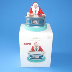 Hallmark ESPN Sports Center Santa Christmas Ornament Magic Sound 2009 New Box Merry Christmas 2017, Christmas Items, Santa Christmas, Christmas Ornaments, Vintage Names, Espn, Tea Cups, Community, Magic