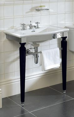 Westminster Jet Basin Stand - with black & chrome legs. Imperial Bathrooms, Westminster, Bauhaus, Basin, Jet, Chrome, Stylish, Black, Home Decor