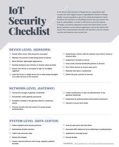iot security checklist