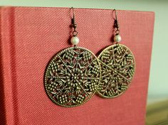 Bohemian Brass Filigree Earrings by tortugasdesign, $8.95
