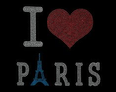 Hand Made 'I Love Paris' Rhinestone/stud Heat Transfer Paper -- To view further for this item, visit the image link.
