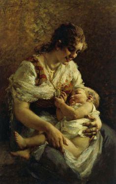 """Egisto Lancerotto (italian painter) - """"Motherly Love"""""""