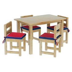 Maxtrix Kids Playtime 21 Play Table with Four Chairs with Reversible / Red Seat Pads