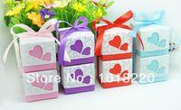 20pcs de Natal dos doces Caixa Roxa / rosa coração favor do casamento festa de casamento Caixa fita Caixas Incluído