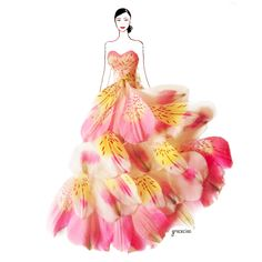 Nature and Grace Ciao Design and Draw Dresses with Petals. See more art and information about Grace Ciao, Press the Image. Grace Ciao, Arte Fashion, Floral Fashion, Fashion Dresses, Trendy Fashion, Fashion Design Drawings, Fashion Sketches, Fashion Illustrations, Design Illustrations