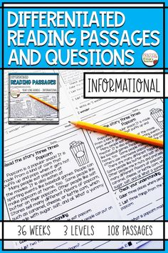Are you looking for leveled reading passages and questions for your elementary classroom? This pack of informational reading comprehension passages has 3 levels per week for 36 weeks. A total of 108 reading passages that can be used for independent reading, homework, reading groups, and more! Fun, kid-friendly nonfiction topics and questions. Reading Resources, Reading Strategies, Reading Activities, Reading Skills, Teaching Reading, Reading Homework, Teacher Resources, Leveled Reading Passages, Reading Comprehension Passages