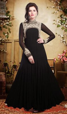 Black Embroidered Faux Georgette Gown Price: Usa Dollar $306, British UK Pound £180, Euro225, Canada CA$327 , Indian Rs16524.