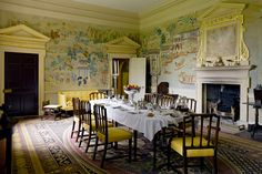 hand painted chinese wall paper in the dining room of Avebury Manor