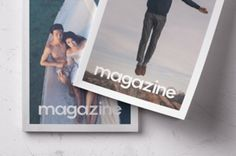 This is a double overhead psd magazine mockup front cover view  to display your print designs. Add your own graphics...