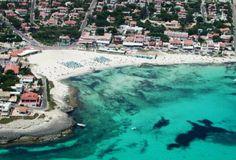 Punta Prima Bay Beach on the eastern end of Menorca