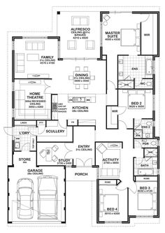 4 bedroom floor plan. Love the kids' lounge that helps designate a whole wing for all their play things. Built in office/study is a plus, but I would open up the area between the LR and home theater to make one large family/entertainment space.