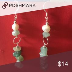Sterling silver earrings with aventurine gemstones 925 hall marked Sterling silver earrings with aventurine stone nuggets, fresh water pearls and silver accents. Measures 3 inches long. Comes with plastic earring backs for security. Handmade Jewelry Earrings
