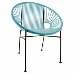 """Bring breezy appeal to your kitchen or three-season porch with this Acapulco-inspired side chair, showcasing an intriguing silhouette and a blue finish.   Product: ChairConstruction Material: Steel and vinylColor: Black and blueFeatures:  UV resistant treated vinylBucket-inspired designRust resistant coating Suitable for indoor or outdoor use18"""" Seat heightDimensions: 35"""" H x 28"""" W x 17"""" D"""