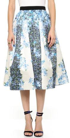 Tibi Floral Silk Full Skirt