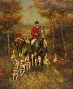 Antique Signed Fox Hunt Equestrian Oil Painting on : Lot 194