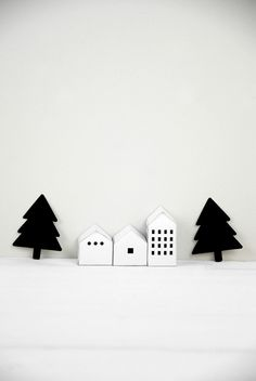 small houses and trees