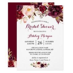 #bridal #shower #invitations - #Burgundy Marsala Red Floral Autumn Bridal Shower Card