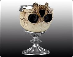Byron's goblet made out of a skull unearthed at Newstead believed to be one of the monks from the old abbey