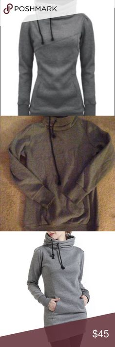 "❤️SOLD ON MERC❤️beautiful gray cotton hoodie Korean style, drawstrings, pockets, beam waste size xl long hoodie gray only been worn once got the outfit off of Facebook very very cute hoodie and so warm!! The chest is about 21 a half to 22 inches side to side, it's a little stretchy, from armpit to the bottom of the hoodie is about 23"", Very long and pretty, goes great with leggings, would be a awesome addition to your wardrobe!!! Sweaters Cowl & Turtlenecks"