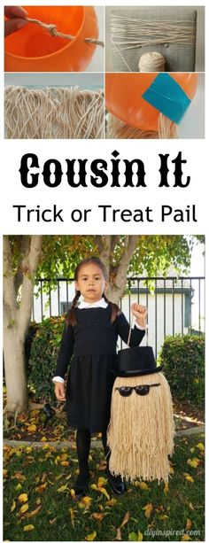 How to make a Cousin It trick or treat pail out of a 99 cent plastic costume for a Pugsly or Wednesday Addams costume.