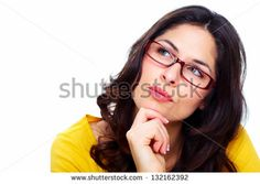 Isolated on white. Wearing Glasses, Young Women, Stock Photos, Woman, How To Wear, Beautiful, Fashion, Moda, Fashion Styles