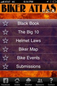 BIKER ATLA USA app homepage.