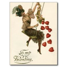 Valentine's Day lady and hearts postcard
