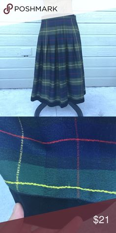 Plaid Pleated Velvet Rim Maxi Skirt Good condition, medium weight and warm. Zipper and button to close. Waist 30.5 inches. Length 28.5 inches. 70% rayon, 30% wool. Herman Geist Skirts Maxi