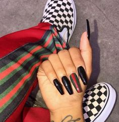 #vans #blacknails #black_nails #nails #prettynails #style #hype #black