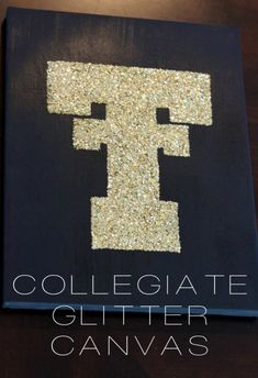 {DIY} Collegiate Glitter Canvas...great craft to hang in our house!