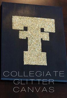 {DIY} Collegiate Glitter Canvas. Ahhhhh, I just died.
