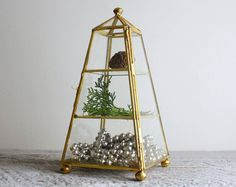 Vintage Pyramid Glass Display Case