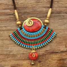 Waxed cotton cord necklace with brass highlights by cafeandshiraz, $78.00