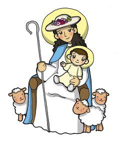 Resultado de imagen para dibujo infantil de la virgen La divina pastora