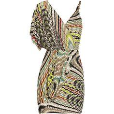 T-Bags Asymmetric stretch-satin jersey dress (€86) ❤ liked on Polyvore featuring dresses, vestidos, vestiti, green, one shoulder dress, green cocktail dress, one shoulder drape dress, brown dress and elastic waist dress