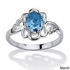 Palm Beach Jewelry PalmBeach Oval-Cut Open Scrollwork Birthstone Ring in Sterling Silver Color Fun (Size 5 - March - Simulated Aquamarine), Women's, White